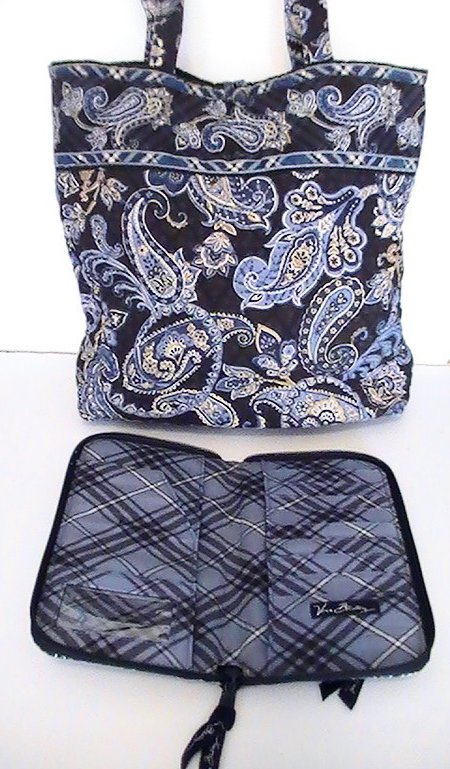 Image 3 of Vera Bradley Large Tote Windsor Navy with matching Travel Wallet Blue Large