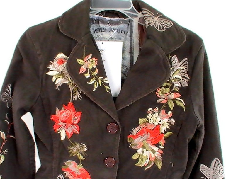 Embroidered Blazer Brown Sz Small Jacket Db Sport