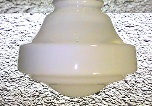 Glass Lamp Shade White Schoolhouse Button Style Vintage