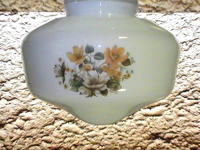 Glass Lamp Shade White Floral Decals 4 inch fitter Vintage