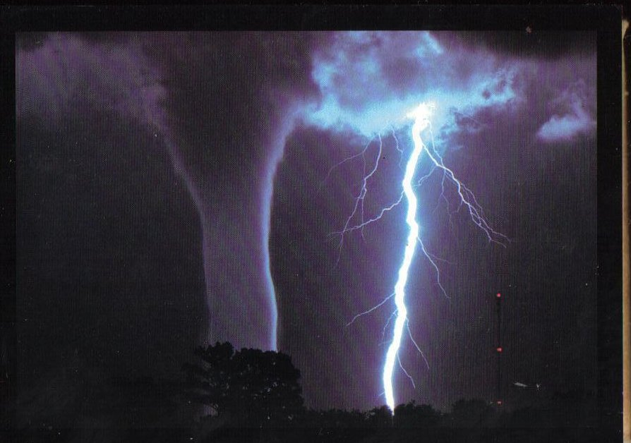 Waterspout and Lightning Weather Phenomenon Postcard