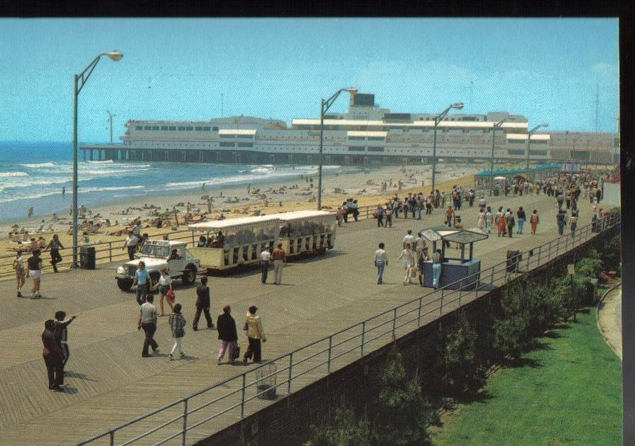 Boardwalk atlantic city new jersey vintage postcard for Atlantic city fishing pier