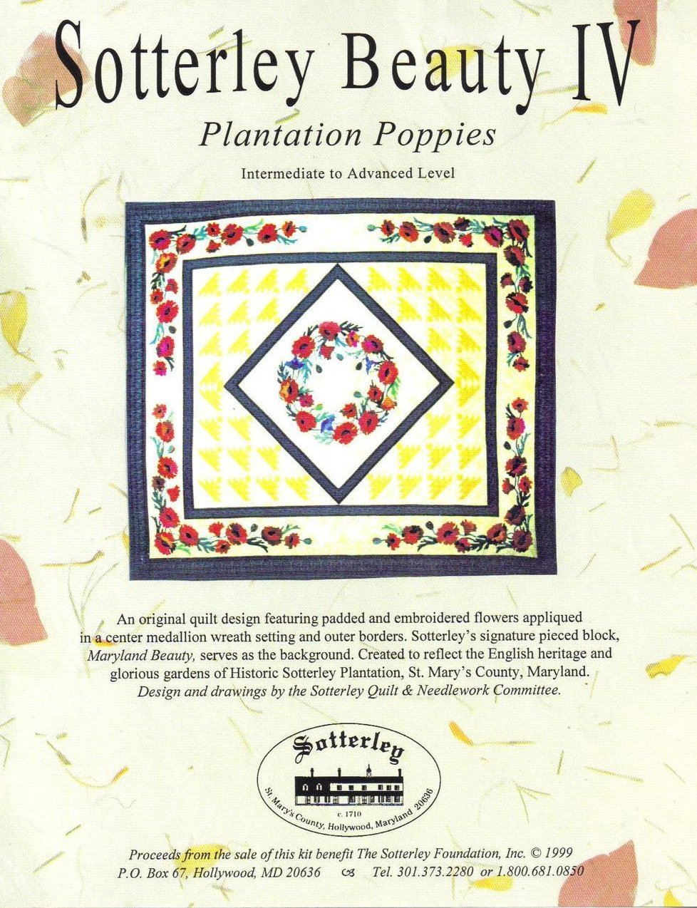 Sotterley Beauty IV Plantation Poppies Design Quilt Pattern
