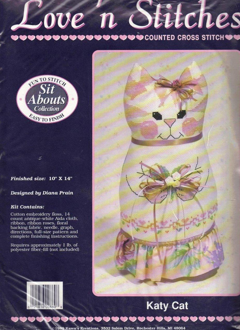 Love n' Stitches Cross Stitch Kit Sit Abouts Katy Kat Diana