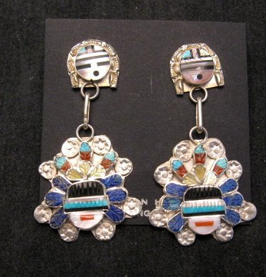Image 0 of Native American Zuni Inlaid Sunface Headress Silver Earrings, Eldred Martinez