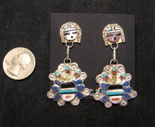 Image 1 of Native American Zuni Inlaid Sunface Headress Silver Earrings, Eldred Martinez