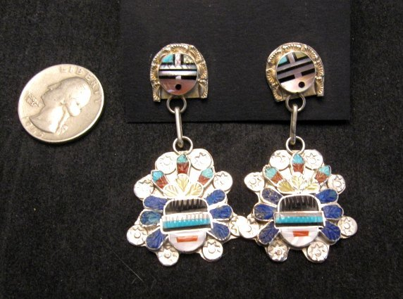 Image 2 of Native American Zuni Inlaid Sunface Headress Silver Earrings, Eldred Martinez