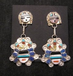 Native American Zuni Inlaid Sunface Headress Silver Earrings, Eldred Martinez