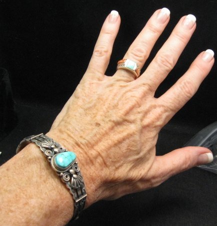 Image 1 of Darrell Cadman Navajo Turquoise Sterling Silver Bracelet