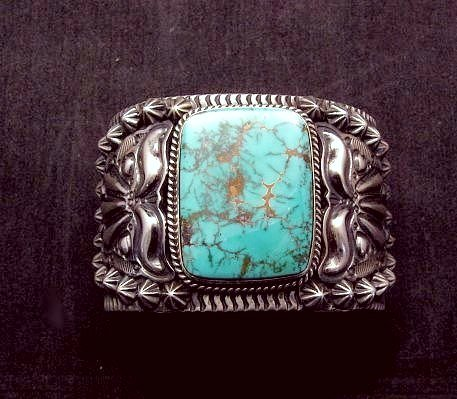 Image 0 of Wide Darryl Becenti Navajo Turquoise Sterling Silver Cuff Bracelet