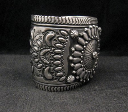 Image 4 of Extra-Wide Darryl Becenti Repousse Stamped Sterling Silver Bracelet