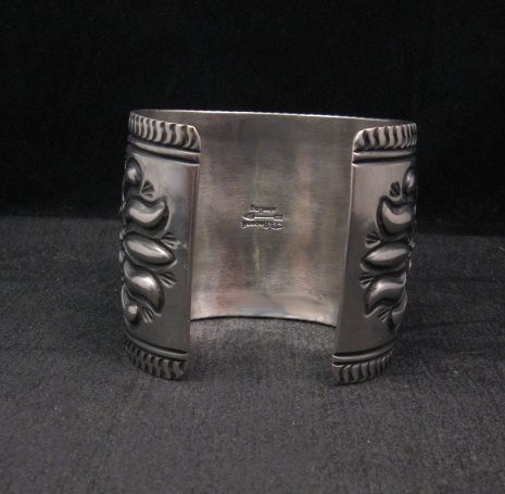 Image 5 of Extra-Wide Darryl Becenti Repousse Stamped Sterling Silver Bracelet