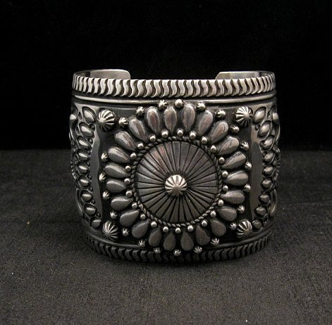 Image 6 of Extra-Wide Darryl Becenti Repousse Stamped Sterling Silver Bracelet