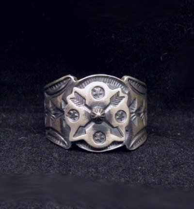 Image 0 of Gary Reeves Navajo Crossed Arrows Sterling Silver Ring sz9-1/2