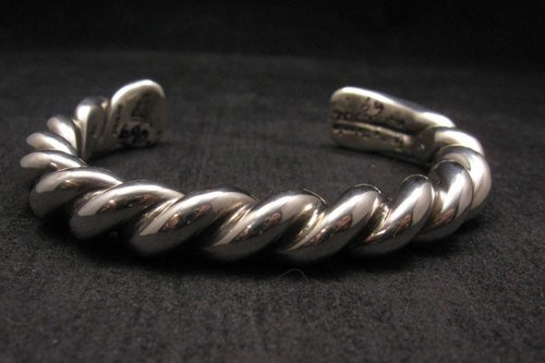 Image 0 of Heavy Navajo Orville Tsinnie Sterling Silver Twist Bracelet - Large