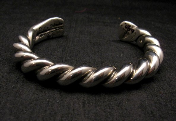 Image 1 of Heavy Navajo Orville Tsinnie Sterling Silver Twist Bracelet - Large