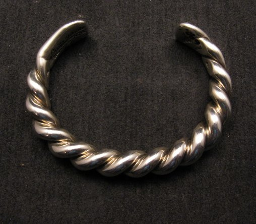 Image 2 of Heavy Navajo Orville Tsinnie Sterling Silver Twist Bracelet - Large