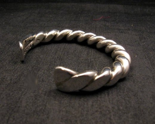 Image 4 of Heavy Navajo Orville Tsinnie Sterling Silver Twist Bracelet - Large