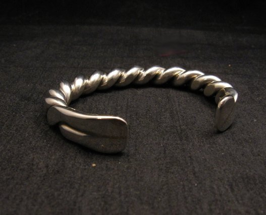 Image 5 of Heavy Navajo Orville Tsinnie Sterling Silver Twist Bracelet - Large