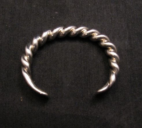 Image 6 of Heavy Navajo Orville Tsinnie Sterling Silver Twist Bracelet - Large
