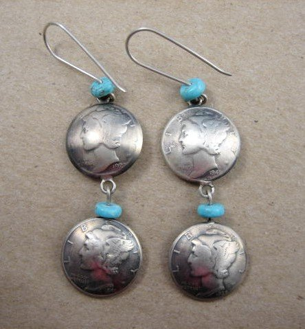 Image 0 of James Mccabe Navajo Old Coin (Mercury Dimes) Earrings