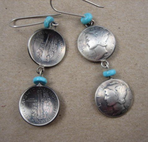 Image 1 of James Mccabe Navajo Old Coin (Mercury Dimes) Earrings