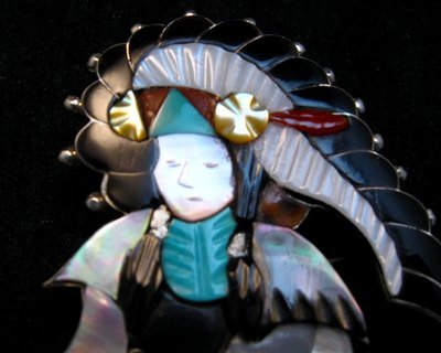 Image 1 of Jonathan Beyuka Zuni Drummer Dancer Inlay Pin Pendant