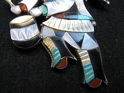 Image 2 of Jonathan Beyuka Zuni Drummer Dancer Inlay Pin Pendant