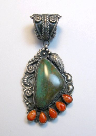 Image 0 of Big Kirk Smith Navajo Turquoise Spiny Oyster Pendant