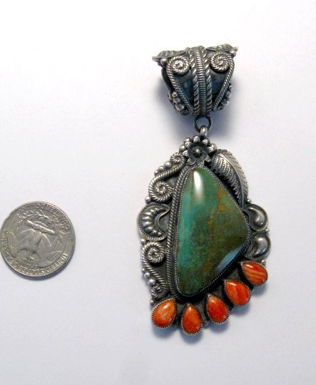 Image 1 of Big Kirk Smith Navajo Turquoise Spiny Oyster Pendant
