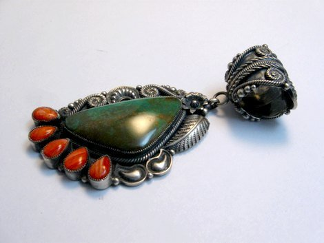 Image 2 of Big Kirk Smith Navajo Turquoise Spiny Oyster Pendant