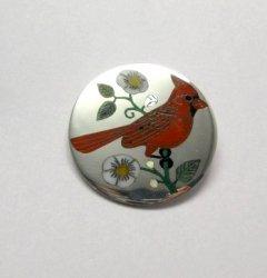 Ruddell & Nancy Laconsello ~ Zuni ~ Inlaid Cardinal Bird Pin Pendant