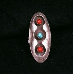 LONG NATIVE AMERICAN DEAD PAWN TURQUOISE CORAL SILVER RING SZ5