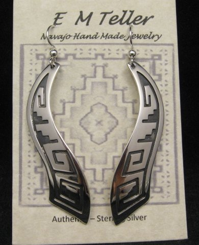 Image 1 of Long Native American Wavy Silver Earrings, Everett & Mary Teller