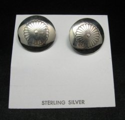 Native American Navajo Silver Concho Earrings Clip-on