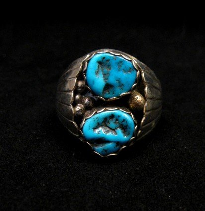 Image 0 of Native American Navajo 2-stone Turquoise Silver Ring sz12