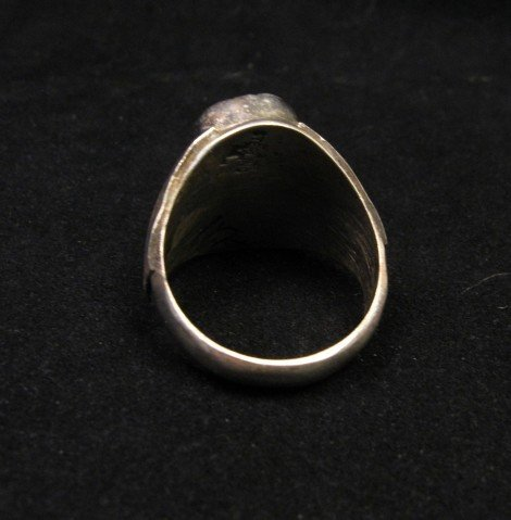 Image 3 of Native American Navajo 2-stone Turquoise Silver Ring sz12
