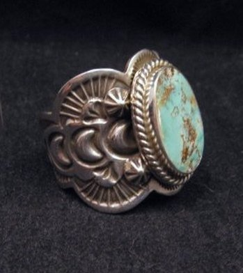 Image 2 of Native American Navajo Turquoise Silver Ring sz11-1/4, Happy Piasso