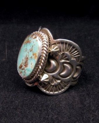 Image 1 of Native American Navajo Turquoise Silver Ring sz11-1/4, Happy Piasso