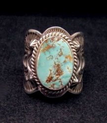 Native American Navajo Turquoise Silver Ring sz11, Happy Piasso