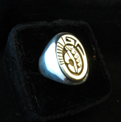 Image 2 of Navajo Calvin Peterson 14K Gold & Sterling Silver Ring sz11