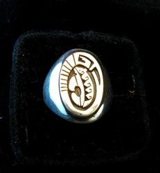 Navajo Calvin Peterson 14K Gold & Sterling Silver Ring sz11