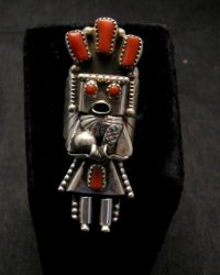 Navajo Coral Sterling Silver Kachina Ring, Doris Smallcanyon - sz8-3/4