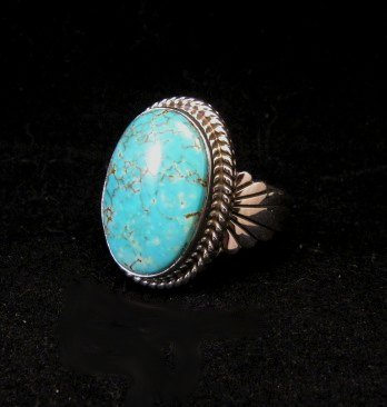 Image 2 of Navajo Indian Candelaria Turquoise Silver Ring sz10, Wilson Padilla