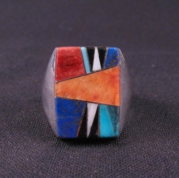 Image 0 of Navajo Multigem Inlay Silver Ring Dale Livingston sz13-1/2