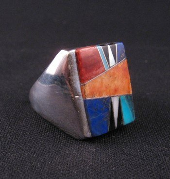 Image 1 of Navajo Multigem Inlay Silver Ring Dale Livingston sz13-1/2
