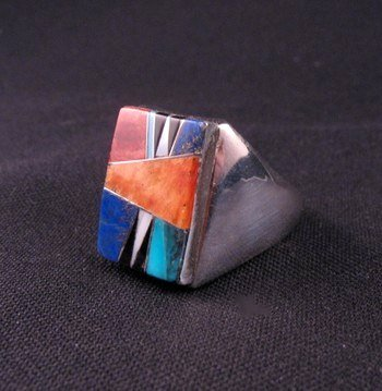 Image 2 of Navajo Multigem Inlay Silver Ring Dale Livingston sz13-1/2