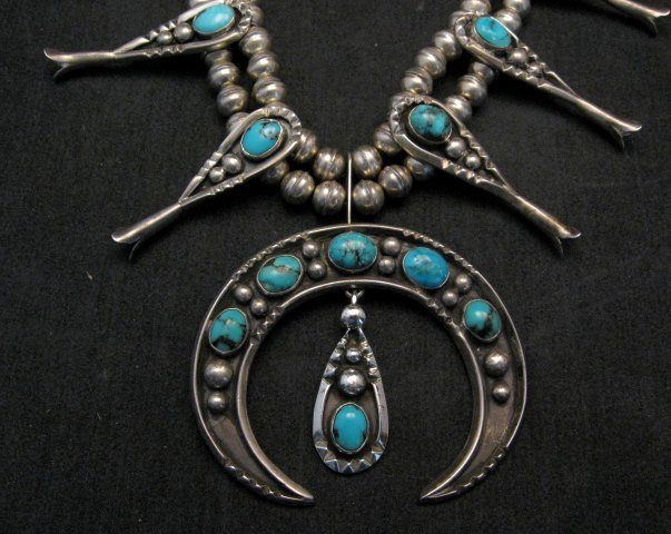 Image 2 of Navajo Old Pawn Turquoise Silver Squash Blossom Necklace
