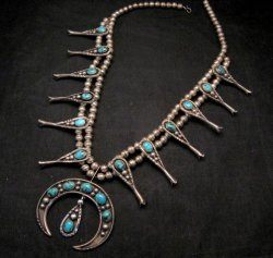 Navajo Old Pawn Turquoise Silver Squash Blossom Necklace