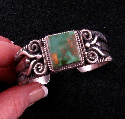 Image 0 of Navajo Pilot Mtn Turquoise Silver Bracelet, Delbert Gordon